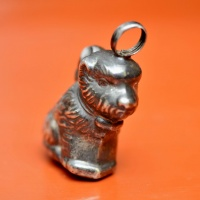 Victorian Silver Dog Collar Rattle in the form of a dog thumbnail