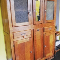 1930's Art Deco French Oak Larder cupboard with Baquette store and original keys thumbnail