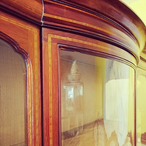 Edwardian triple fronted display cabinet thumbnail
