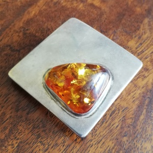 Vintage Silver and Amber Pendant/Brooch thumbnail