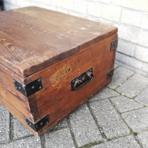 Antique Pine Box with carrying handles and Midland Railway luggage label thumbnail