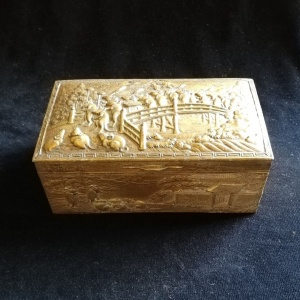 Antique Oriental Trinket Box in Gilt Metal with Proverb in Relief thumbnail