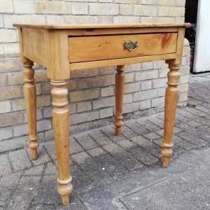 Victorian Pine Desk or Hall Table with drawer thumbnail