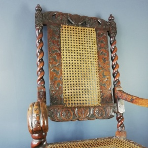 Jacobean Renaissance Revival Carved Walnut and Cane Throne chairs c.1870 thumbnail