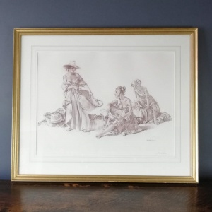 Sir William Flint signed Artists Proof - Group of Idlers 1966 thumbnail