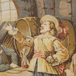 Large Belgian 20th Century Wall Tapestry after Rembrandt.  Tavern with Cavaliers thumbnail