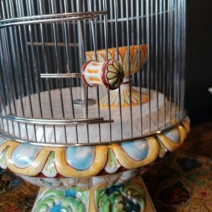 Vintage Majolica Ceramic Bird Cage with faux Budgie thumbnail