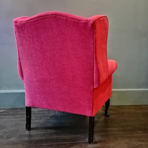 Vintage Queen Anne style Armchair in raspberry fabric thumbnail