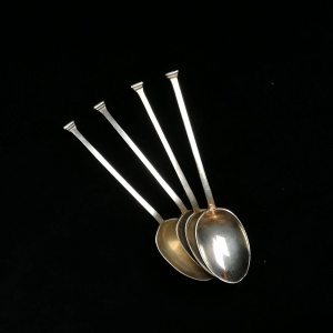 4 Silver Cocktail spoons in the manner of Omar Ramsden. Sheffield 1925 thumbnail