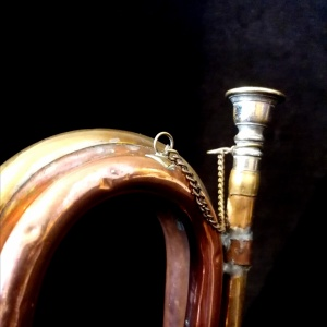 9th Lancers Antique Bugle, Copper and Brass C.1900 thumbnail