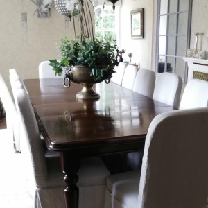Large 19th Century Mahogany Dining Table and 12 chairs thumbnail