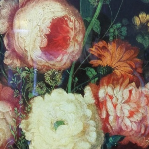 19th Century Victorian Reverse Glass painting Still Life of Floral design  thumbnail