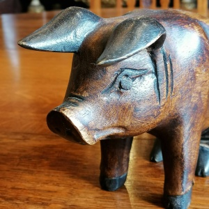 Hand Carved Sitting Wooden Pig thumbnail