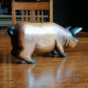 Hand Carved Standing Wooden Pig thumbnail