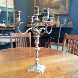 George II Rococo Style White Metal 5 Light Candelabra thumbnail