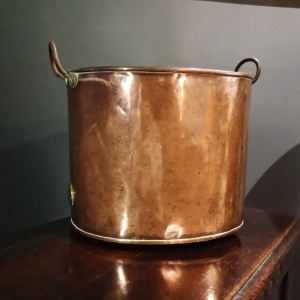 Antique Copper Coal Bucket of Oval Form with Handles thumbnail