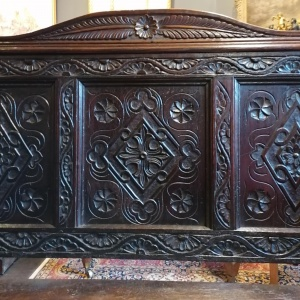 A Stunning Heavily Carved Gothic Revival Oak Settle thumbnail
