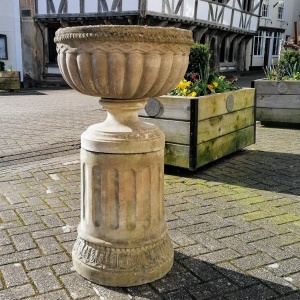 Vintage Composition Stone Jardiniere on Column Stand  thumbnail