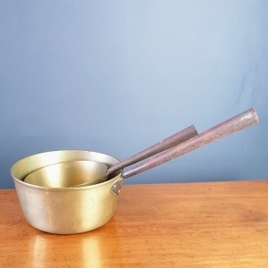 A Pair of Antique Brass Saucepans with Iron Handles thumbnail