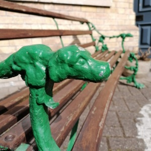 Vintage Garden Bench in the style of Coalbrookdale, The Serpent and the Grapes thumbnail