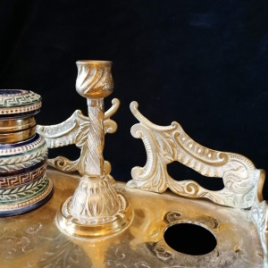 Antique Brass and Porcelain Double Inkwell with Candlestick thumbnail